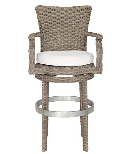 Patio Heaven WP-RBSBH-5440 Signature Swivel Barstool with Cushion in Canvas Fabric, Terracotta (Swivel Canvas Stool Bar Cushion)