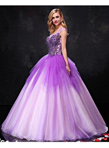 See Krause Hochzeitskleid Tunnelzug Violett Through Flügelärmeln Rundkragen Emily gefaltete Beauty Btw5qB
