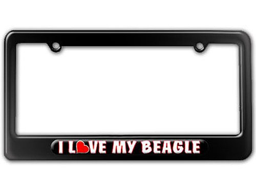 I Love Heart My Beagle License Plate Frame