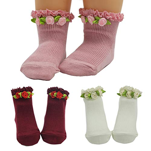 Nihao Baby Ruffle Socks Toddler Infant White Baby Girl Socks 3 Pair Pack (Pink&Red&White, 1-3 Years old)
