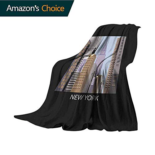 (City Security Blanket,Cartoon Style New York Abstract Urban Metropolitan Manhattan Illustration Modern Art Microfiber All Season Blanket for Bed or Couch Multicolor,30