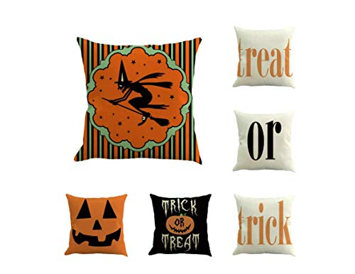 XGuangage Treat or Trick Pillowcase Home Decoration Cushion Covers Cotton Pillow Case 6pcs/Set (Set 5)