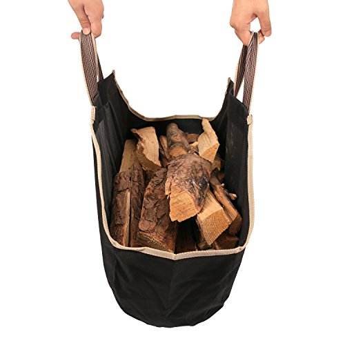 1.Go 36.5 Inches Canvas Firewood Carrier, Log Tote Bags, Large Capacity, Fireplace Accessories