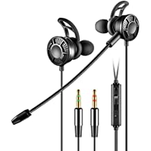 HaloVa Gaming Earbuds, Noise Cancelling Earbuds In Ear Headphones, Professional Computer Game Headphone with Double Plug and Microphone for PC Laptop Tablet 2 Meters, Black