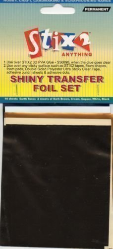 10 SHEETS TRANSFER FOILS EARTH TONE COLOURS SHINY BROWN CREAM COPPER WHITE BLACK by UK Industrial Tapes