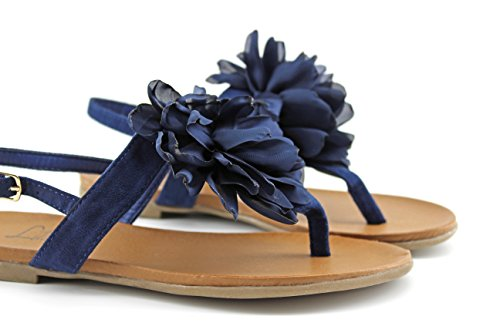 Modelisa - Sandalia Plana Flor Mujer Azul oscuro