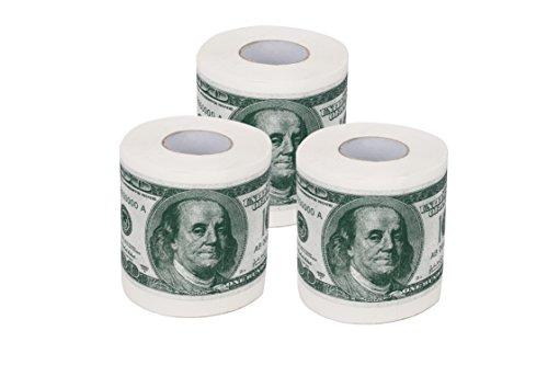 SummitLink 3 Rolls $100 Hundred US Dollar Bill Toilet Paper Tissue Napkin Prank Fun Birthday Party Novelty Gift Idea (Us Dollar Paper Toilet)