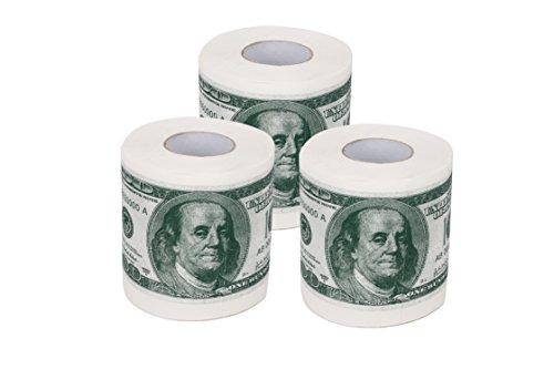 SummitLink 3 Rolls $100 Hundred US Dollar Bill Toilet Paper Tissue Napkin Prank Fun Birthday Party Novelty Gift Idea (Dollar Paper Toilet Us)