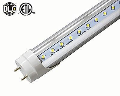 (25 Lights) G13 Bi-Pin 4 Feet 22 Watt 5000K Natural White Color ETL DLC Listed 3000 Lumens Clear Lens Cover Fluorescent Replacement LED Tube Light