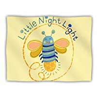 Kess InHouse Jane Smith 'Little Night Bug' Yellow Blue Dog Blanket, 40 by 30-Inch