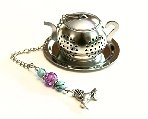 Purple and Blue Teapot Tea Infuser with Hummingbird Charm