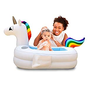 Plur Baby Inflatable Bath Tub and Portable Wash,Rainbow Unicorn for Infants 6 – 24 Months, Inflatable Buffet Cooler…