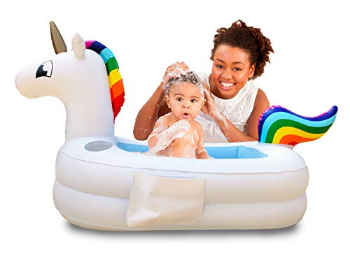 Plur Baby Inflatable Bath Tub and Portable Wash,Rainbow Unicorn for Infants 6 - 24 Months, Inflatable Buffet Cooler, Floating Ice Chest, Baby Shower and Decoration (Rainbow Unicorn) (Inflatable Rubber Duck Bathtub)