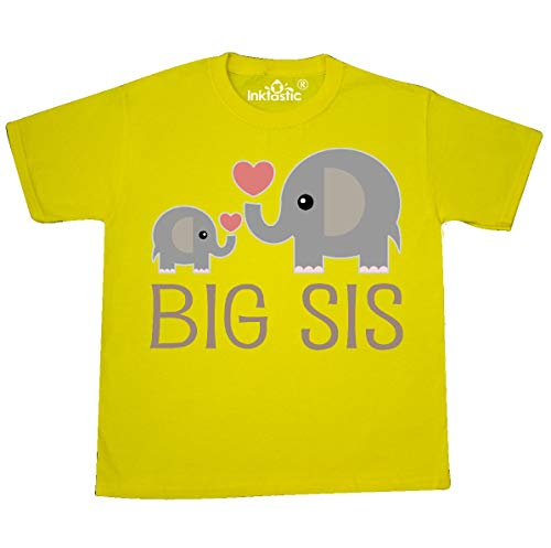 - inktastic - Big Sis Elephant Youth T-Shirt Youth X-Small (2-4) Yellow 1a7a5