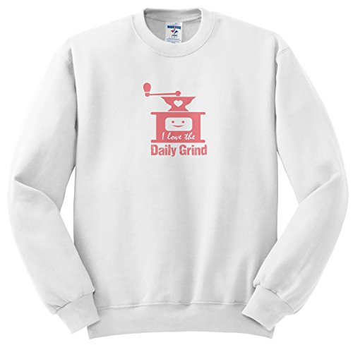 Price comparison product image 3dRose Russ Billington Designs - Funny Coffee Grinder Design In Pink On White - Sweatshirts - Youth Sweatshirt Small(6-8) (SS_262258_10)
