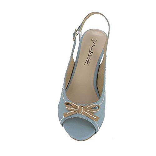 Anne Michelle Womens/Ladies Slingback Bow Trim Peep Toe Sandals Light Blue shnMeC3