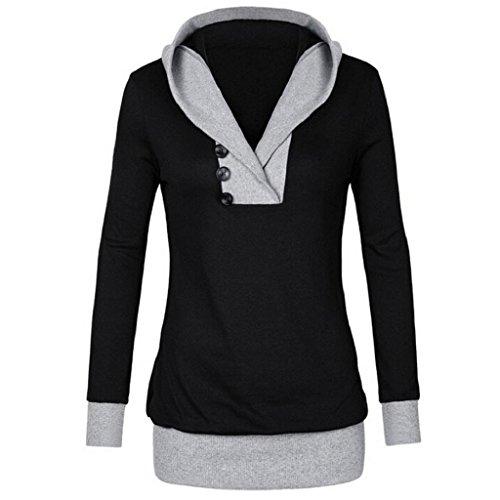 LUNIWEI Women Long Sleeve Hoodie Sweatshirt Jumper Hooded Pullover Tops Blouse