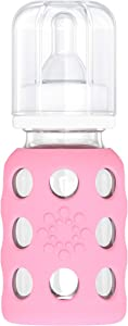 Lifefactory 4-Ounce BPA-Free Glass Baby Bottle with Protective Silicone Sleeve and Stage 1 Nipple, Pink