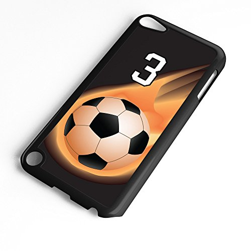 iPod Touch Case Fits 6th Generation or 5th Generation Soccer Ball #6400 Choose Any Player Jersey Number 3 in Black Plastic Customizable by TYD Designs