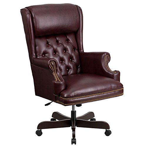Flash Furniture High Back Traditional Tufted Burgundy Leather Executive Swivel Chair with -
