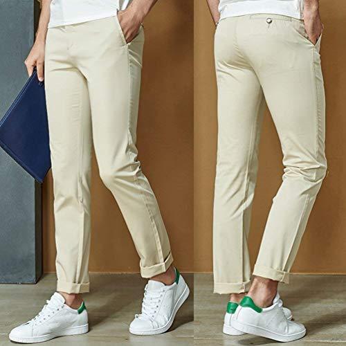 Pantaloni Uomo Slim Cargo Fit A Alta Size Vita Casual Skinny Leicht Da Completo Khaki Comodi color 38 xnwXErpx8