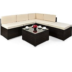Deuba | Salon de jardin – en polyrotin • set canapé et table + coussins | Marron, plateau verre | Résistant aux…