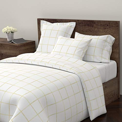 Roostery Gold Plaid Duvet Cover Metallic Plaid Brass Plaid Gold Check Windowpane Check Gold Square Metallic Check by Jenlats 100% Cotton Queen Duvet Cover ()