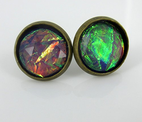 Natural Gold Nugget Ring (Antiqued Gold-tone Purple Faceted Resin Cellophane Stud Earrings 12mm)