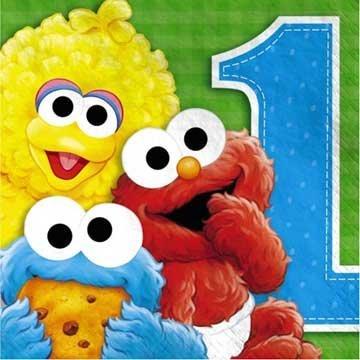 Sesame Street 1st Birthday Lunch Napkins, 16ct (Sesame Street Party Big Bird Lunch Napkins)