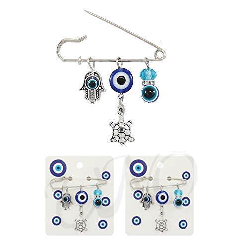 My Love My Saint 3PCS Good Luck Blue Evil Eye Hamsa Pin Set Protection Brooch for Baby Girls Pin -