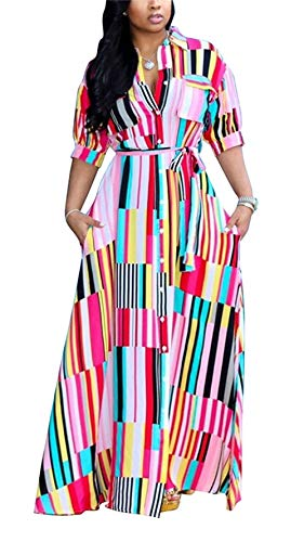 Womens Rainbow Stripe Print Shirt Dress Casual Botton Down Long Maxi Dress with Belt ()