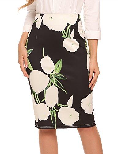Zeagoo Women's Elastic Waist Stretchy Office Pencil Skirt With Beautiful Prints Black (Beautiful Skirt)