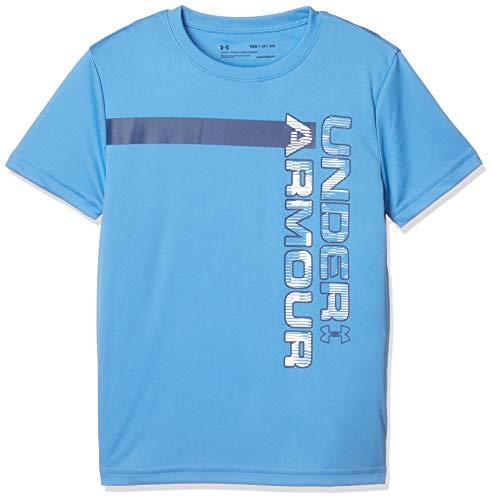 Wordmark Youth Tee Blue - Under Armour Boys' UV Wordmark Tee, Heather Blue//White, Youth Large