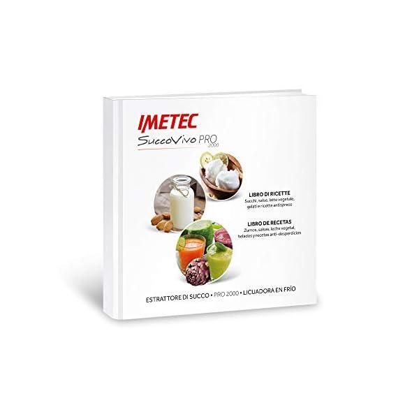 Imetec Succovivo Pro 2000 Estrattore di Succo Professionale a Freddo, Spremitura Lenta 48 Giri/Min, 2 Filtri per Succhi, Accessorio per Granite e Sorbetti, Kit per Maschere Bellezza, con Ricettario - 2021 -