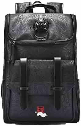 Chusan PU Leather Backpack College Rucksack School College Laptop Computer Backpack  Waterproof Travel Daypack for Men 193da90ca21ed