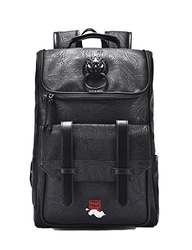 MM PU Leather Vintage Laptop Large Backpack Waterproof Packable Daypack for Men