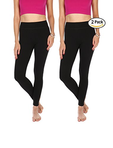 Premium Cotton Spandex Leggings - Full Length - Non See Thru - Regular & Plus Sizes (3XL, 2pk (Black/Black))