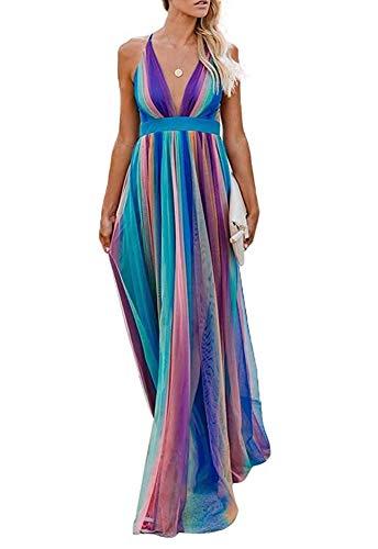 - Remelon Womens Sexy Spaghetti Strap Deep V Neck Floral Boho Stripe Criss Cross Backless Chiffon Beach Party Long Maxi Dress Blue Purple L