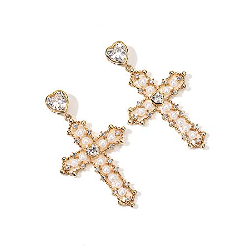 ღ Baroque Faux Pearl Cross Earrings for Women CZ Gold Plated Alloy Hollow Drop Earrings for Girls