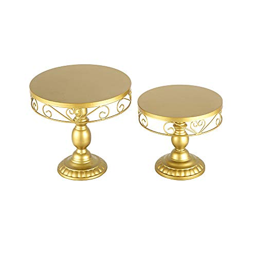 18K Gold Antique Metal Cake Stand, Round Cupcake Stands, Wedding Birthday Party Dessert Cupcake Pedestal/Display/Plate ((Set of 2)18K Gold Heart-shaped Decor 02)