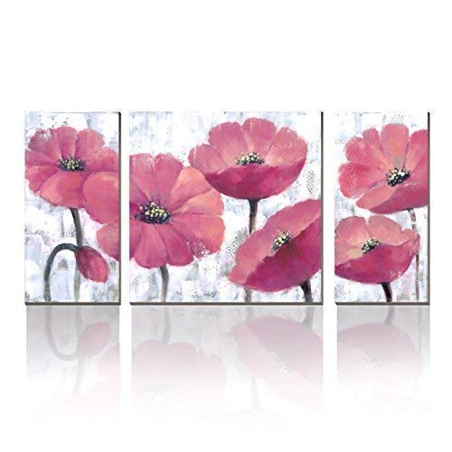 3Hdeko - Modern Pink Floral Wall Art 3 Pieces Blooming Corn Poppies Picture - Elegant Coral Flower Painting Prints on Canvas - Cute Artwork Wall Decor for Living Room Teen Girl Bedroom Ready to Hang