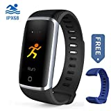 Waterproof Fitness Tracker, Bluetooth Activity Tracker Compatible Android iOS Color Screen Smart Bracelet Heart Rate Monitor Step Calorie Counter Replaceable Wrist Band Men Women Kids