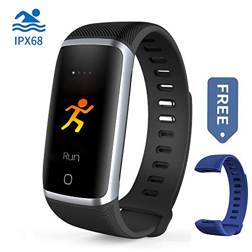 Waterproof Fitness Tracker, Bluetooth Activity Tracker Compatible Android iOS Color Screen Smart Bracelet IPX68 Heart Rate Monitor Step Calorie Counter Replaceable Wrist Band Blue Men Women Kids