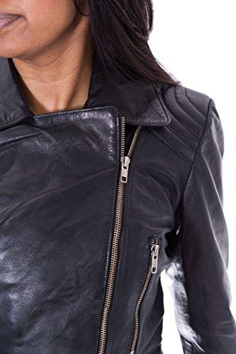 Femmes Noir Retro Designer Style c™tŽ rŽel en agneau fermeture Žclair longue de motard Jacket