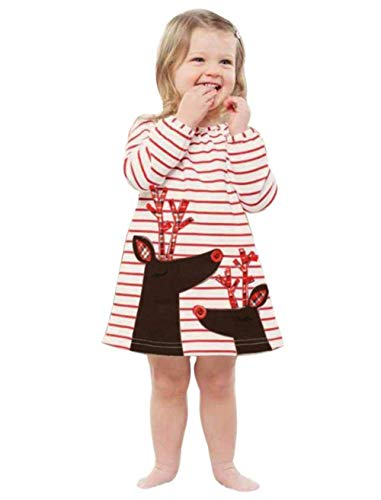 Toddler Baby Girl Xmas Santa Deer Print Dresses Casual Kids Christmas Clothes Outfits (White, 3T) ()
