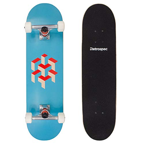 Retrospec Alameda Skateboard Complete with Abec-11 & Canadian Maple Deck, Sky Blue Isometric - Maple Complete Skateboard