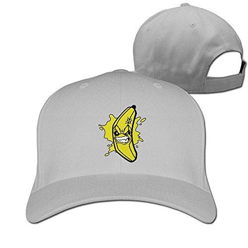 Fasn Angry Banana Cartoon Banana Peaked Baseball Cap With Ash