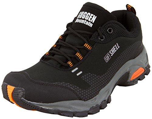 GUGGEN MOUNTAIN, Herren Trekkingschuhe Wanderschuhe Walkingschuhe Outdoorschuhe mit der neuesten Softshell Technologie Model T001 SOFTSHELL, Farbe Schwarz-Orange, EU 43