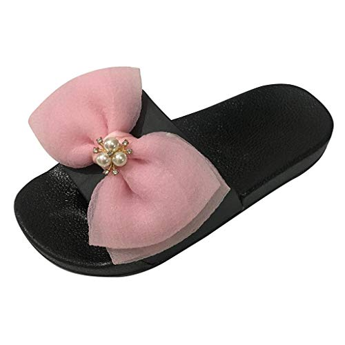 NRUTUP Summer Women Ladies Girls Bowknot Crystal Flat Sandals Slippers Beach Shoes -