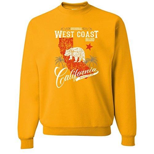 (California West Coast Brand Crewneck Sweatshirt - Gold 3X-Large)